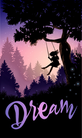 Inspirational romantic poster. Girl on a tree swing. Vector illustration