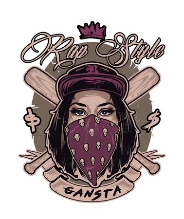 Emblem with pretty hip hop swag girl face. Vector Illustration