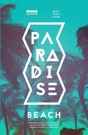 party design: Summer party poster design template with palm trees silhouettes. Modern style. Vector illustration Illustration