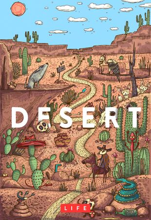 Detailed colorful vector illustration. Wild life in desert with animals, birds and plants 向量圖像