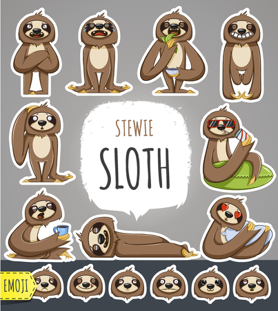 Cartoon Sloth Character. Emoticon Stickers With Different Emotions. Vector Illustration.