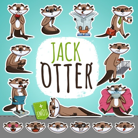 Cartoon Otter Character. Emoticon Stickers With Different Emotions. Vector Illustration.