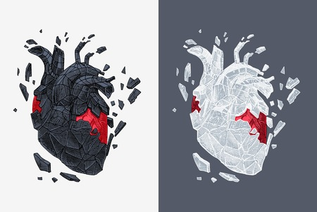 Stylized illustration of heart covered cracking with stone. Vector
