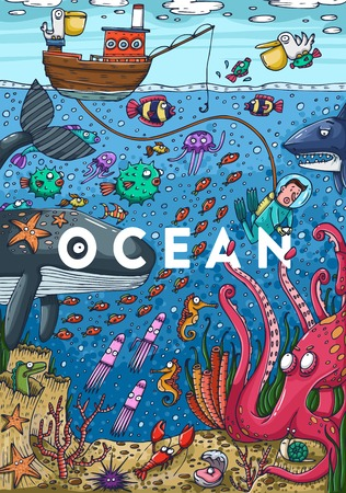 sea water: Detailed colorful illustration. Under water sea life. Vector Illustration