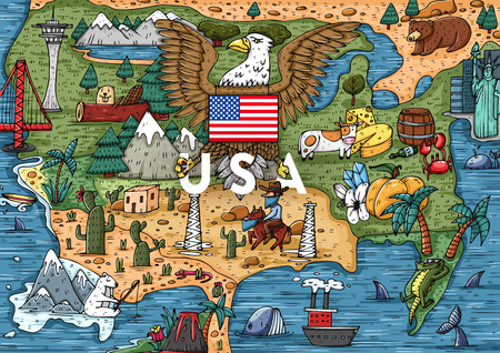 Funny Hand drawn Cartoon USA map with most popular places of interest. Vector illustration
