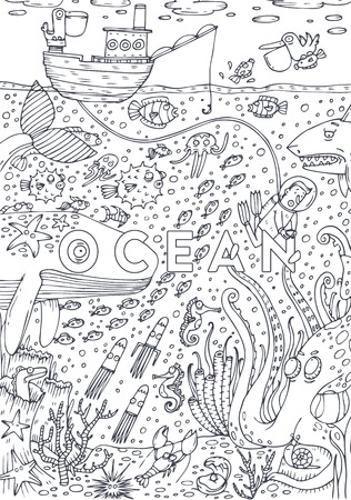 Under water sea life drawn in line art style. Coloring book page design. Vector Illustration