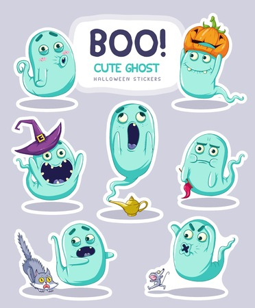 dramatic characters: Sticker set of cute cartoon ghosts with different facial expressions.  Illustration