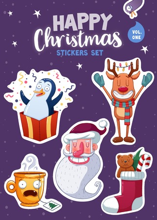 magnets: Set of Merry Christmas and Happy New Year stickers or magnets. Festive souvenirs. illustration