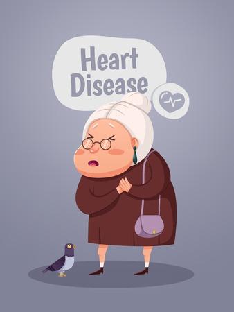 Oude vrouw met hartaanval, cartoon karakter. Vectorillustratie