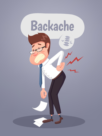 Young businessman suffering from back pain. Vector illustration