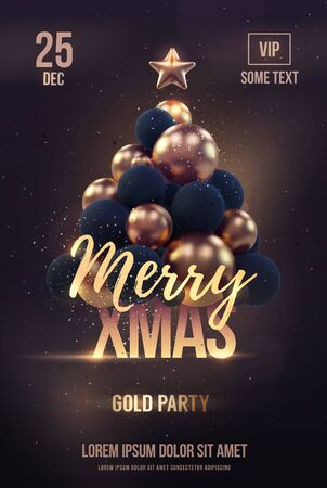 christmas postcard: Christmas poster or flyer template with golden christmas tree. Vector illustration
