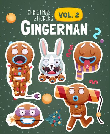 ginger bread: Set of christmas stickers with expressive gingerbread man cookies. Vector illustration