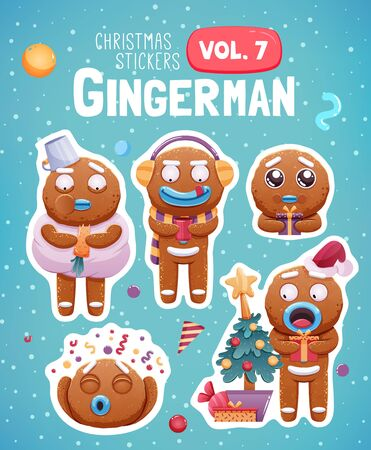 Set of christmas stickers with expressive gingerbread man cookies. Vector illustration