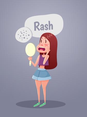 Femme regardant dans le miroir avec des taches rouges sur le visage. Vector illustration Vecteurs