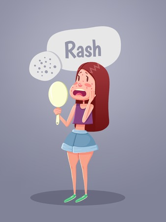 chickenpox: Woman looking in mirror with red spots on face. Vector illustration
