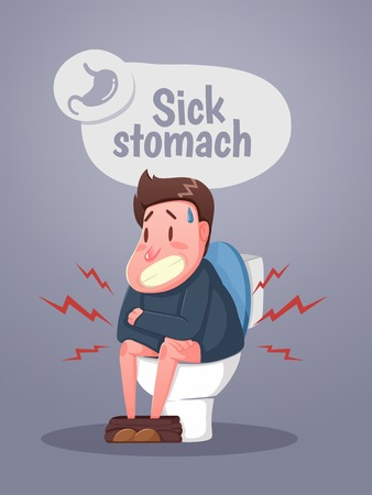 Man sitting on the toilet with stomach upset and diarrhea. Character sitting on the toilet. Vector