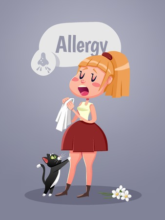 symptom: Woman with allergy symptom blowing nose. Vector illustration