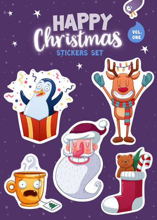 magnets: Set of Merry Christmas and Happy New Year stickers or magnets. Festive souvenirs. Vector illustration Illustration