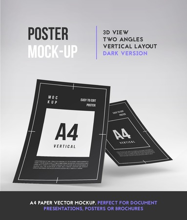 note booklet: Magazine, booklet or brochure perspective mockup template. Vector Illustration.
