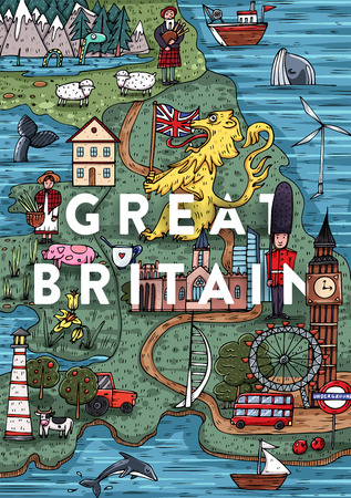 Grappige hand getekend Cartoon Groot-Brittannië kaart met de meest populaire bezienswaardigheden. Vector illustratie Stock Illustratie