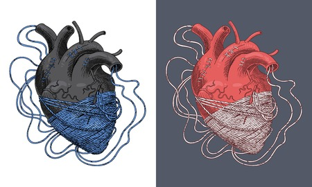 Stylized illustration of heart tangled in threads. Vector Illustration