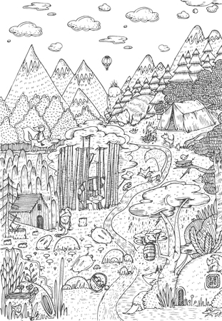 Wild life in forest drawn in line art style. Coloring book page design. Vector Illustration
