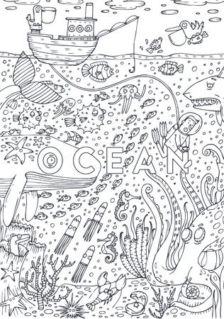 Onder water zeeleven getekend in lijnstijl. Kleurboek ontwerp. Vector illustratie