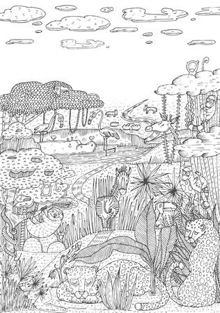 Het wilde leven in wildernis in de stijl van de lijnkunst wordt getrokken die. Kleurboek ontwerp. Vector illustratie