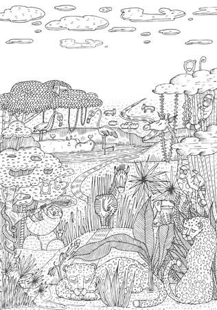 Wild life in jungle drawn in line art style. Coloring book page design. Vector Illustration