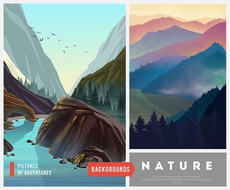 Reeks achtergronden van het aardlandschap met silhouetten van bergen en bomen. Vector illustratie