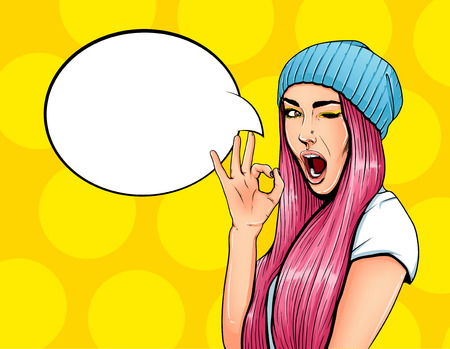 Pop Art Vintage advertising poster comic girl with speech bubble. Pretty girl giving ok gesture vector illustration Banco de Imagens - 68870386