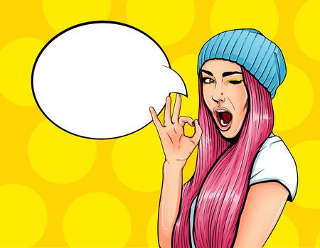 Pop cartel publicitario del art chica cómico con bocadillo. muchacha bonita que da la ilustración vectorial gesto aceptable