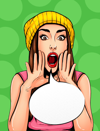 Pop Art Vintage advertising poster comic girl with speech bubble. Pretty girl announcing, telling a secret, shouting or yelling vector illustration