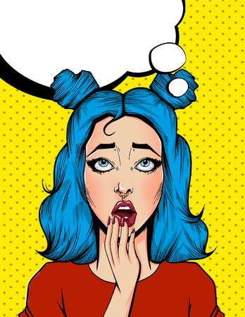 Pop Art Vintage advertising poster comic girl with speech bubble. Surpised pretty girl vector illustration