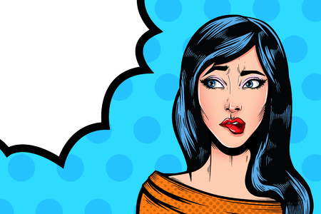 Pop Art Vintage advertising poster comic girl with speech bubble. Confused thinking pretty girl vector illustration