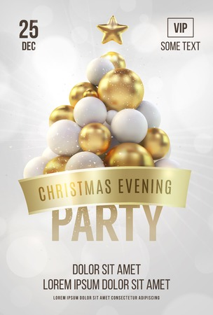 Witte Kerstaffiche of flyer-sjabloon met gouden kerstboom. Vector illustratie Stock Illustratie