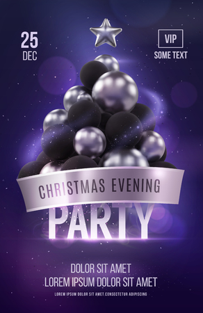 Christmas poster  template with silver christmas tree. Vector illustration Иллюстрация