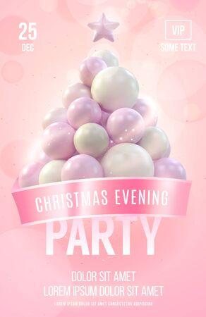 Christmas poster of flyer sjabloon met roze kerstboom gemaakt in zachte kleuren. vector illustratie