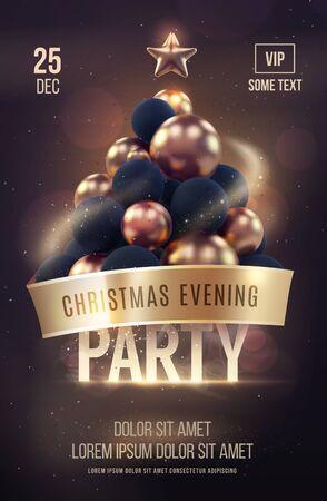 Christmas poster of flyer sjabloon met gouden kerstboom. vector illustratie