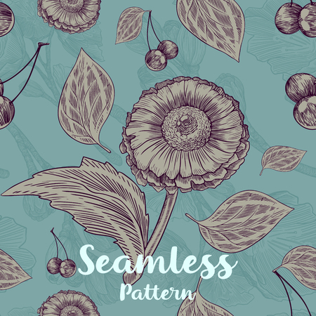 Trendy seamless floral pattern with flowers, leaves and cherrys on green background. Vector illustration