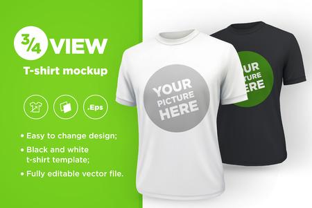 Heren wit en zwart t-shirt met korte mouw mockup. Vooraanzicht. Vector sjabloon.