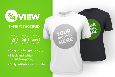 Mens white and black t-shirt with short sleeve mockup. Front view. Vector template. Иллюстрация