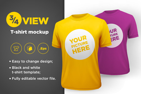white sleeve: Mens white and black t-shirt with short sleeve mockup. Front view. Vector template. Illustration