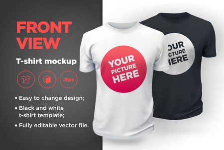 Men's white and black t-shirt with short sleeve mockup. Front view. Vector template. Ilustração