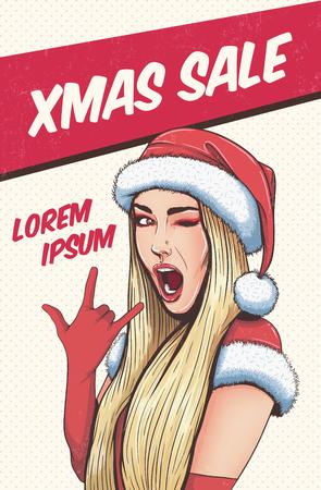 Pop art kerst sexy vrouw in de hoed van de Kerstman met open mouth.Vector achtergrond van Kerstmis in pop-art retro grappige stijl. Stock Illustratie