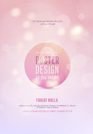 Poster sjabloon met bokeh lichten achtergrond. Vector illustratie.