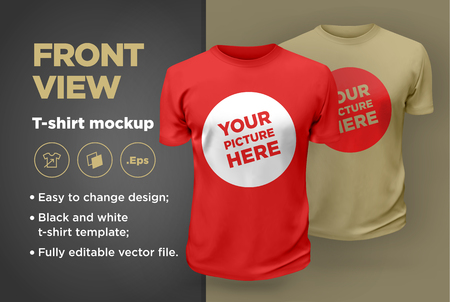 Men's white and black t-shirt with short sleeve mockup. Front view. Vector template. Illustration
