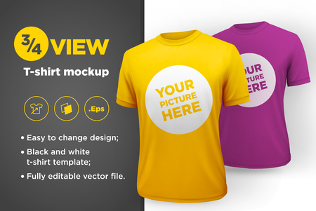 Mens white and black t-shirt with short sleeve mockup. Front view. Vector template. Ilustração