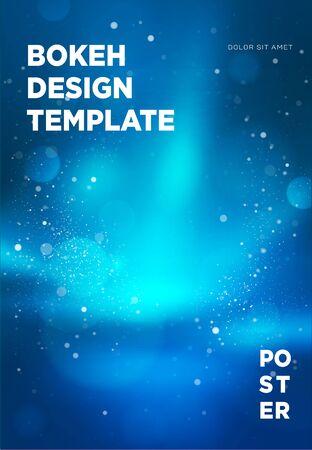 Poster template with bokeh lights background. Vector illustration. Ilustração