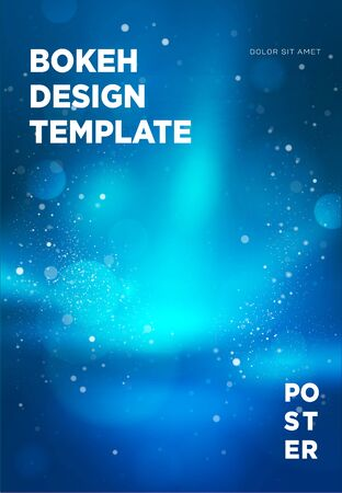 Poster template with bokeh lights background. Vector illustration. Иллюстрация